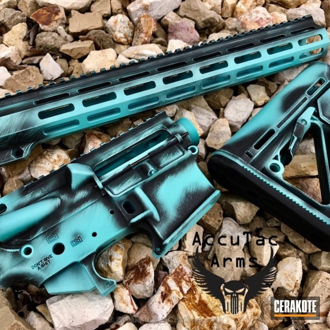 AR Parts coated in H-190 Armor Black and H-175 Robin's Egg Blue