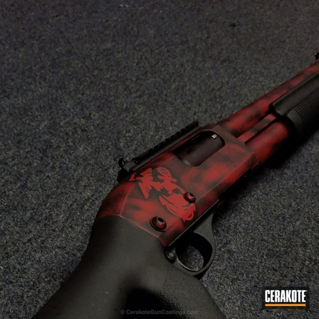 Remington Shotgun coated in H-167 USMC Red and H-146 Graphite Black