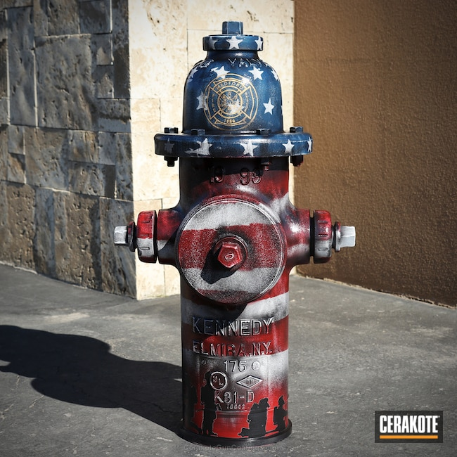 Fire Hydrant in American Flag Theme Cerakote Colors