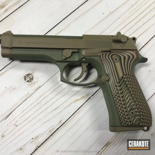 Refurbished Beretta 92FS Handgun in H-267 MagPul Flat Dark Earth and H-248 Forest Green