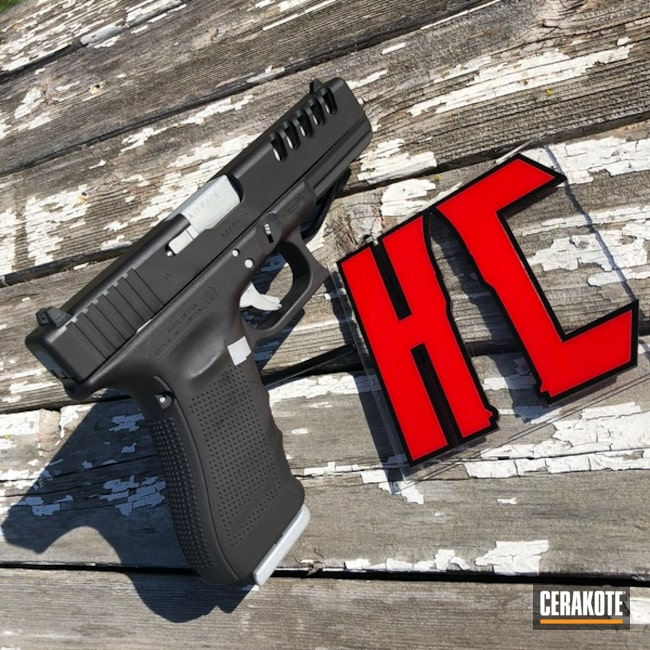 Glock 19 Handgun in H-190 Armor Black and H-255 Crushed Silver