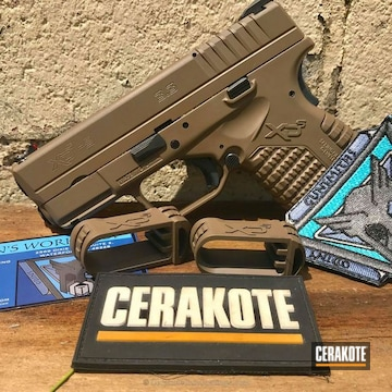 Cerakoted Springfield Xd-9 Handgun In Cerakote H-267 Magpul Flat Dark Earth