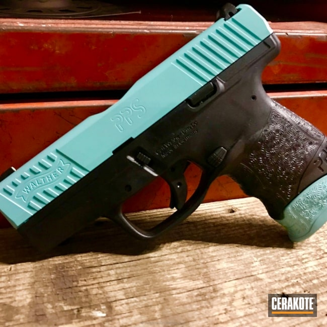 Walther PPS Handgun coated in H-175 Robin's Egg Blue