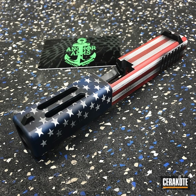 Glock Slide Cerakoted in an American Flag Theme