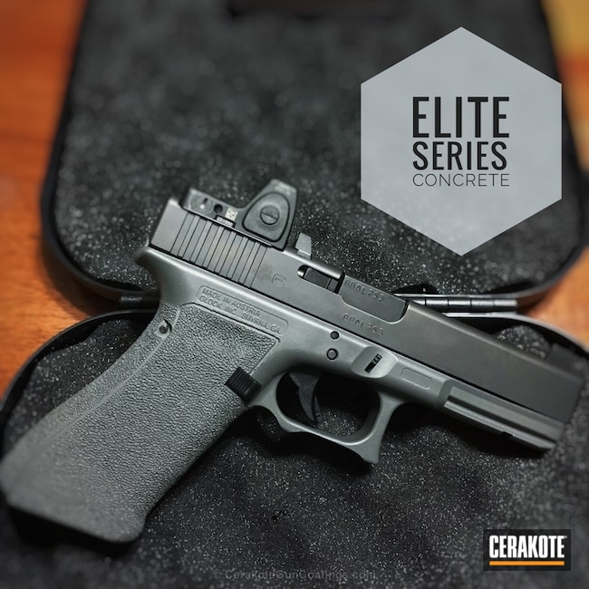 Cerakoted Glock 17 Handgun Featuring A E-160 Concrete Finish