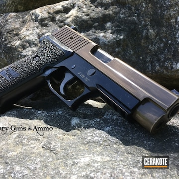 Cerakoted Sig Sauer P220 Coated In H-199 Desert Sand And H-226 Patriot Brown
