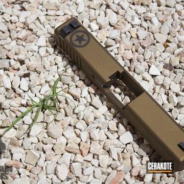 Cerakoted Glock 23 Slide In H-148 Burnt Bronze And H-146 Graphite Black