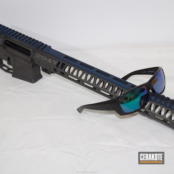 Cerakoted Ar-15 Builder Set Coated In H-146 Graphite Black, H-169 Sky Blue And H-237 Tungsten
