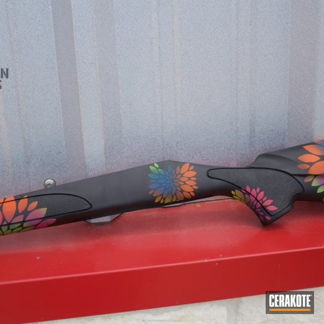Custom Rifle Stock in a Cerakoted Flower Finish