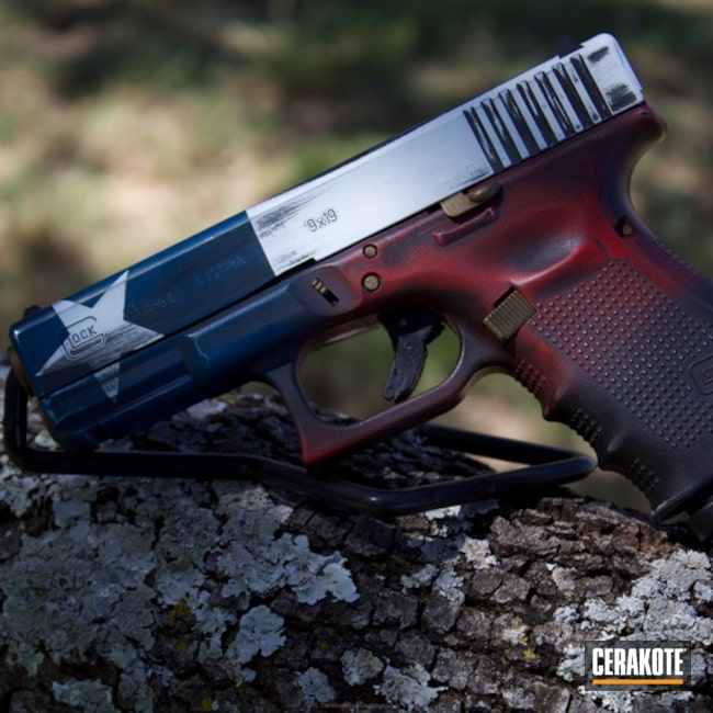 Glock 19 Handgun in a American and Texas Flag Finish