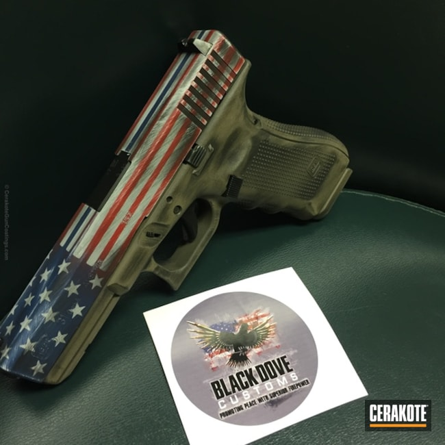 Glock Handgun in an American Flag Cerakote Finish