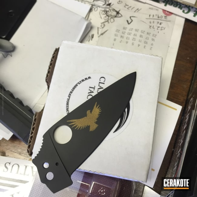 Knife Blades coated in Graphite Black and Burnt Bronze