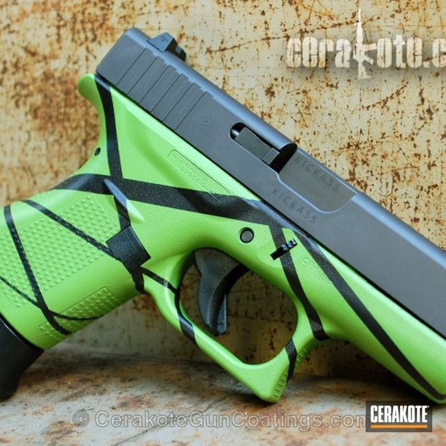 Glock 43 Handgun in a Graphite Black, Zombie Green and Sniper Grey Finish