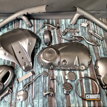 Cerakoted Refinished Triumph Motorcycle Parts