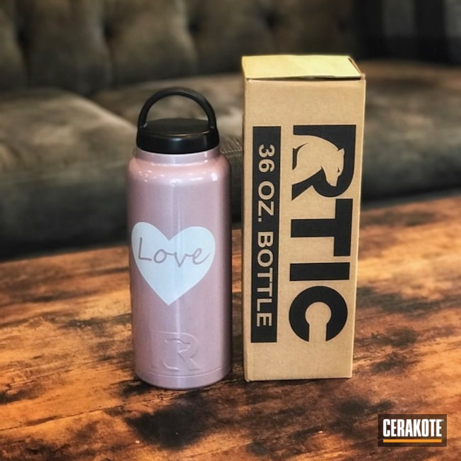 Water Bottle Cerakoted in a Rose Gold Finish