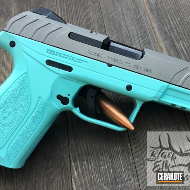 "Thumbnail image for project ""Ruger Handgun coated in H-152 Stainless and H-175 Robin's Egg Blue"""