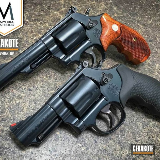 Smith & Wesson Revolvers coated in Cerakote H-245 Socom Blue