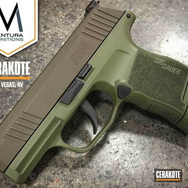 Sig Sauer Handgun coated in H-267 MagPul Flat Dark Earth and H-189 Noveske Bazooka Green