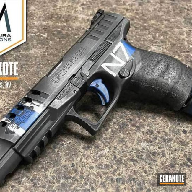 Walther Q5 Handgun coated in H-171 NRA Blue, H-140 Bright White and H-237 Tungsten
