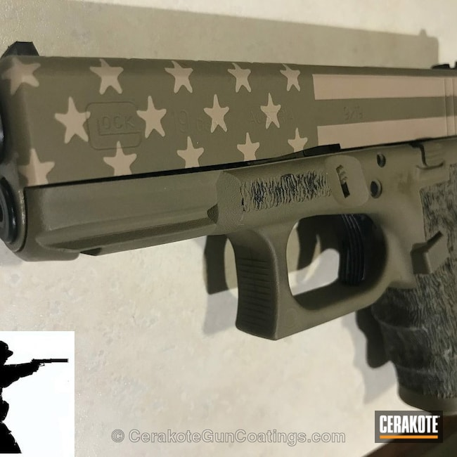 Glock coated in H-267 MagPul Flat Dark Earth and H-232 MagPul O.D. Green