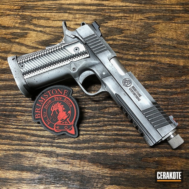 Rock Island Handgun coated in H-146 Graphite Black and H-213 Battleship Grey