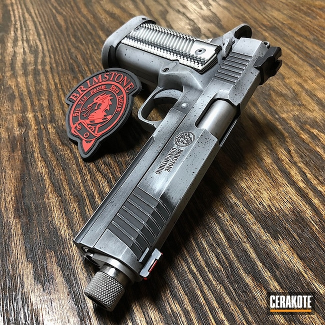 Cerakoted: Graphite Black H-146,Rock Island Armory,BATTLESHIP GREY H-213,Pistol,KKM Precision,Custom Pistol