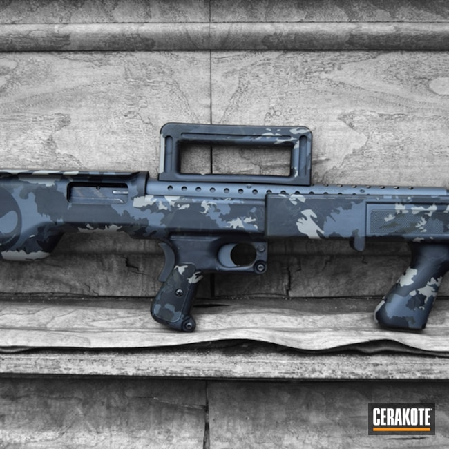 Custom Maverick 88 Bullpup Shotgun in a Cerakote Multicam Finish