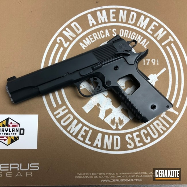 Caspian Arms 1911 Handgun coated in E-110 Midnight