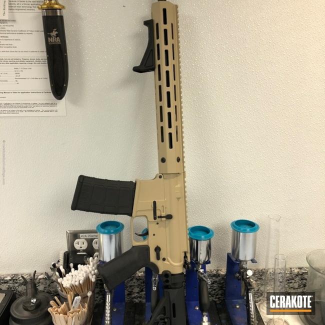 Cerakoted: FS BROWN SAND H-30372,Troy Rail,Two Tone,Armor Black H-190,Tactical Rifle,AR-15,AR 80%