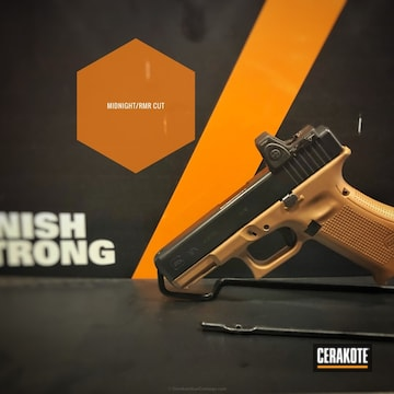 Cerakoted Glock 19x Handgun Coated In H-238 Midnight Blue And E-110 Midnight