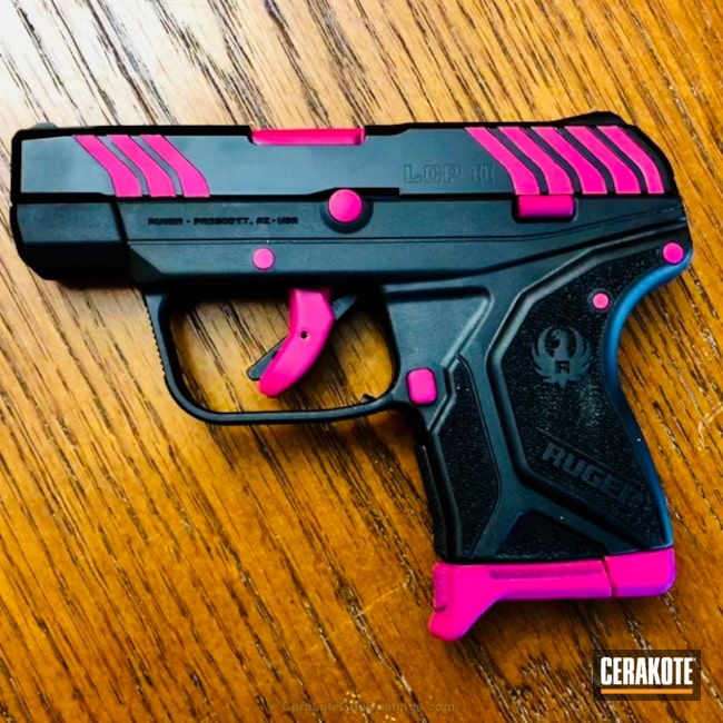 Two Toned Ruger Handgun coated in H-190 Armor Black and H-224 Sig Pink