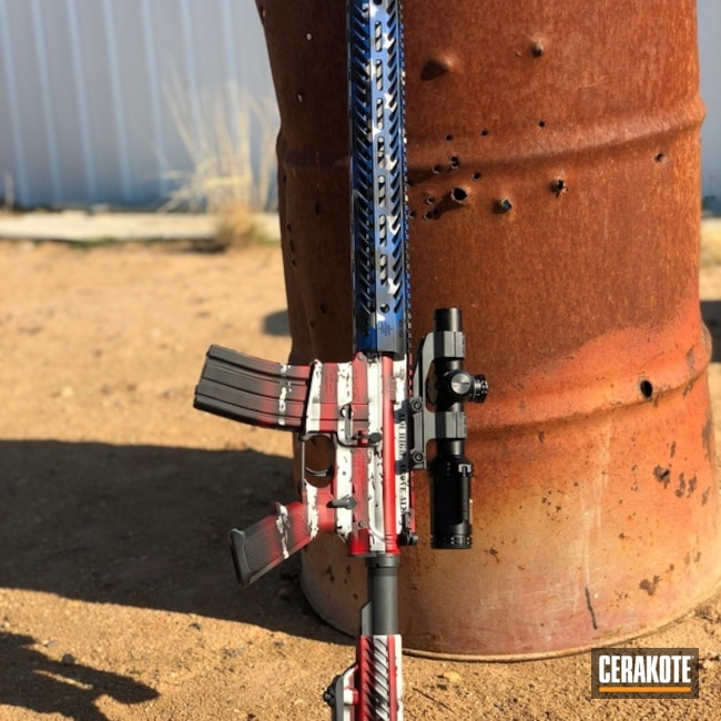 DPMS Rifle coated in a Patriotic American Flag Finish
