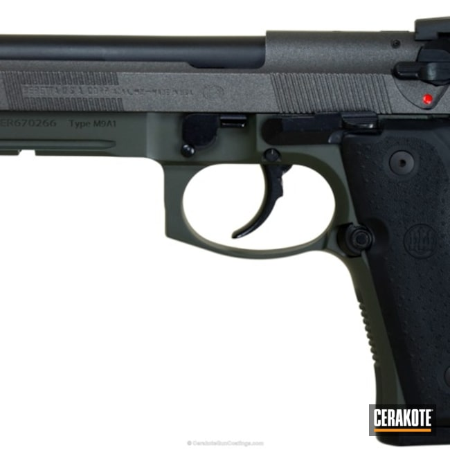 Beretta 92FS Handgun coated in McMillan Olive and a Custom Mixed Tungsten/Armor Black