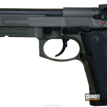 Cerakoted Beretta 92fs Handgun Coated In Mcmillan Olive And A Custom Mixed Tungsten/armor Black