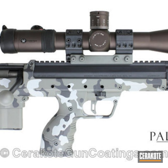 Bolt Action Bullpup Rifle finished in a Cerakote Danish Camo Pattern