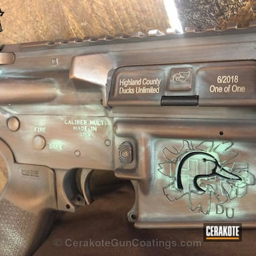 Cerakoted Hm Defense Rifle With Custom Laser Engraving And A Copper Patina Cerakote Finish
