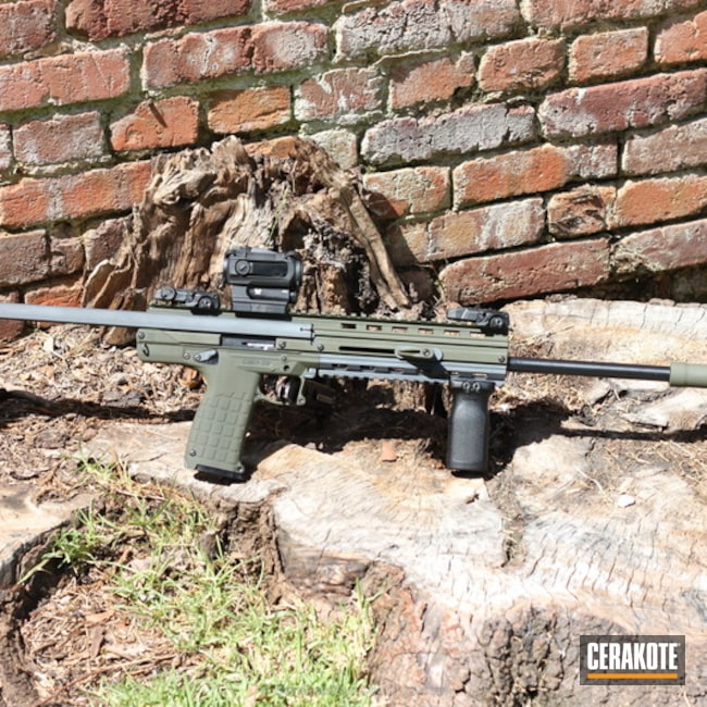 Kel-Tec CMR 30 Rifle coated in H-234 Sniper Grey and H-240 Mil Spec O.D. Green