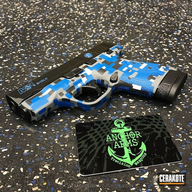 M&P Shield featuring a Navy Digital Camo Finish