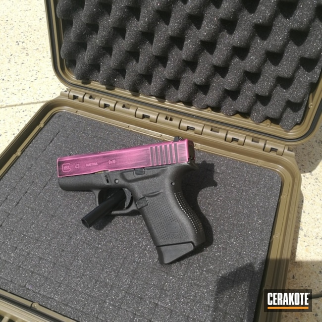 "Thumbnail image for project ""Glock 43 in a Distressed Pink and Black Cerakote Finish"""