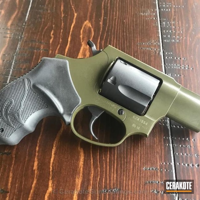 Revolver coated in H-146 Graphite Black and H-240 Mil Spec O.D. Green