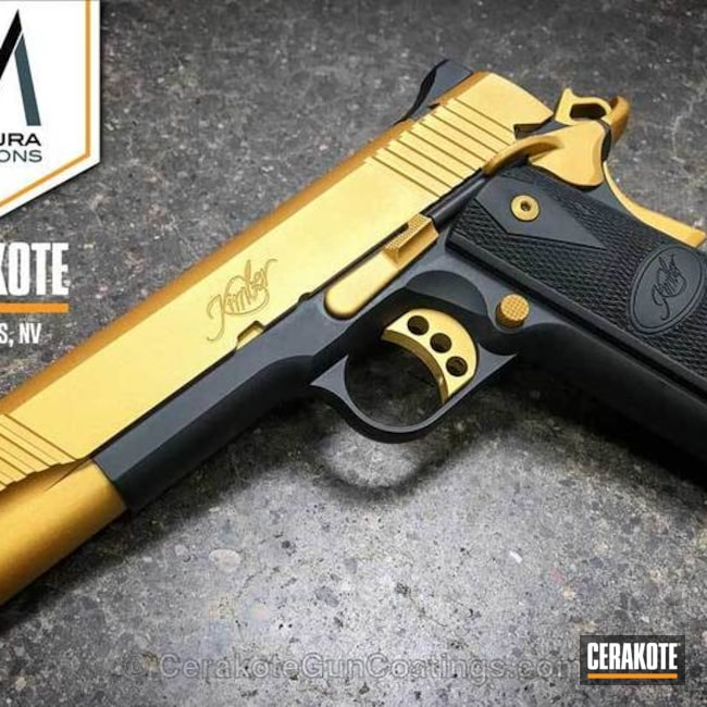 Kimber 1911 Handgun coated in H-122 Gold and H-190 Armor Black