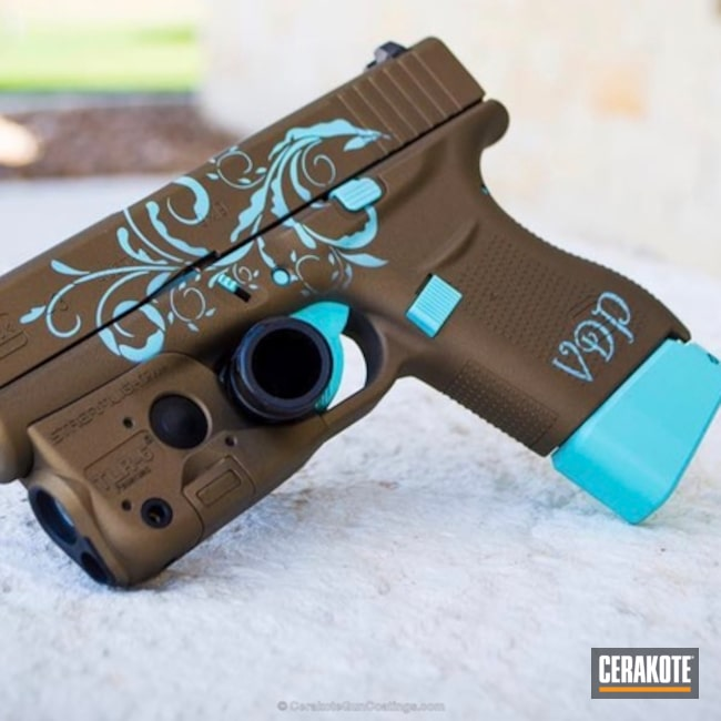 "Thumbnail image for project ""Personalized Glock 43 Handgun in H-175 Robin's Egg Blue and H-148 Burnt Bronze"""