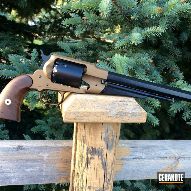 Refinished Black Powder Revolver coated in Gloss Black, Midnight Blue and Burnt Bronze