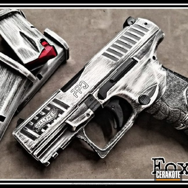 Walther PPQ Handgun in a Distressed Stormtrooper White and Graphite Black Finish