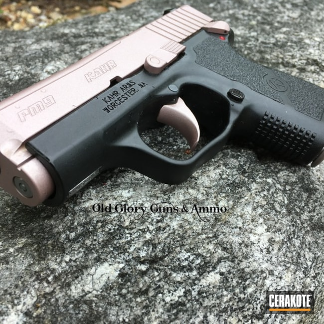 Kahr Arms Handgun coated in a Cerakote Rose Gold Finish