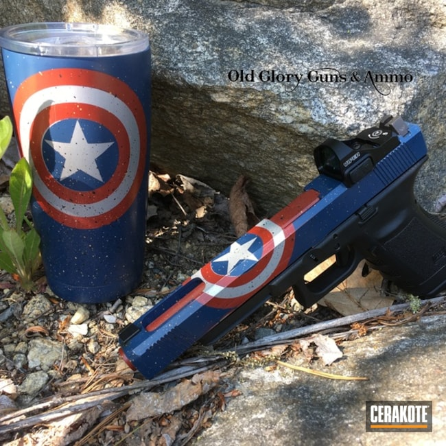 Matching tumbler Cup and Glock Handgun in a Comic Book Inspired Cerakote Finish