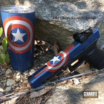 Cerakoted Matching Tumbler Cup And Glock Handgun In A Comic Book Inspired Cerakote Finish