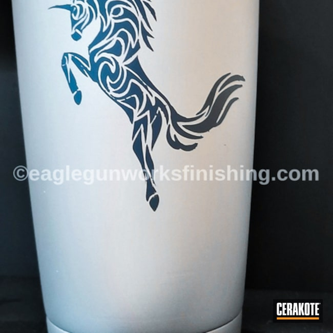 "Thumbnail image for project ""Custom Tumbler Cup coated in Satin Aluminum and Jesse James Civil Defense Blue"""