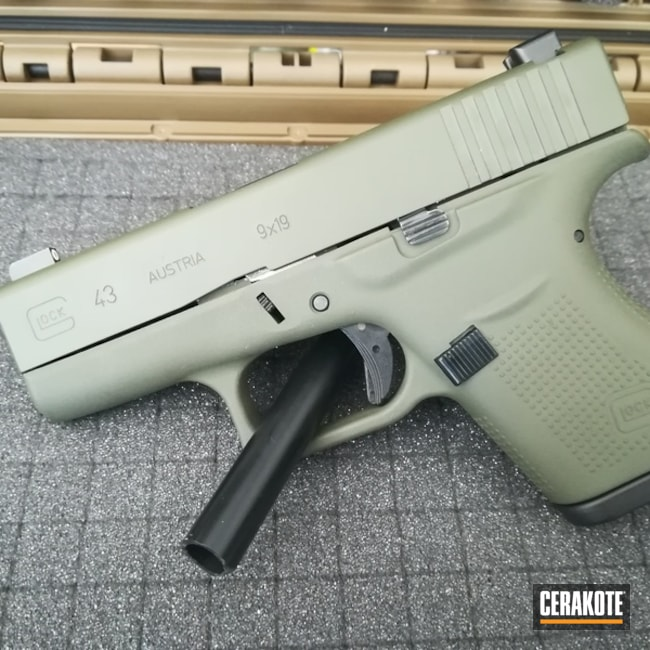 Smaller version of the 1st project picture. Glock, Handgun, Glock 43, Sniper Green H-229Q