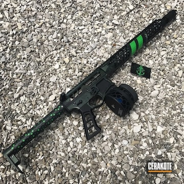 Cerakoted F1 Firearms Rifle Coated In Graphite Black, Corvette Yellow And High Gloss Armor Clear